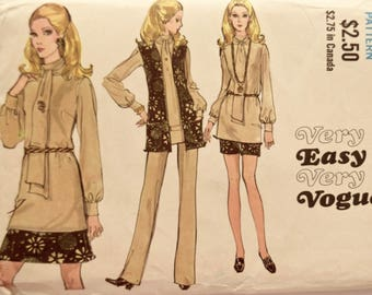 Vogue 7781 Sewing Pattern Vintage 1970s Ensemble Skirt Pants Tunic Blouse with Attached Scarf and Jacket Sleeveless Cardigan Size 18 Bust 40