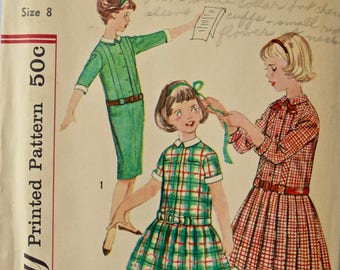Vintage 1950s Girls Sewing Pattern Simplicity 2670 Dress with Two Skirts Belt and Detachable Collar and Cuffs UNCUT Factory Folds Girl Sz. 8