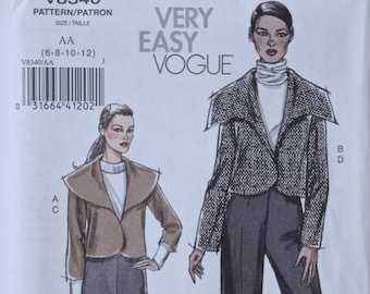 2006 Very Easy Vogue 8340 Sewing Pattern Misses' Unlined Jacket with Wide Collar Variations Pleated Skirt and Pants UNCUT FF Sizes 6-8-10-12