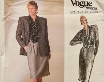 Anne Klein Vogue 1755 American Designer Vintage 1980s Lined Jacket Welt Pocket Cowl Neck Top Tapered Skirt UNCUT Factory Folds Size 10