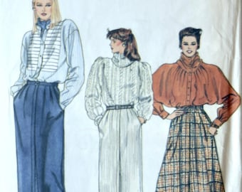 Vogue 8528 Sewing Pattern Vintage 1980s Straight or Flared Skirt Slant Pockets Very Easy Very Vogue Size 14-16-18