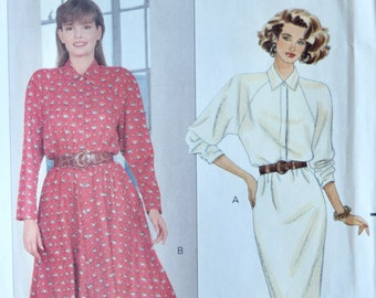 Butterick 4357 Vintage 1980's Sewing Pattern Misses' Loose Fitting Dress Shoulder Pads Straight or Flared Skirt 80s Style Sz 6-8-10