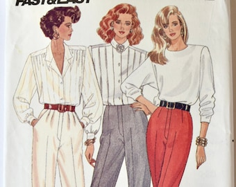 Butterick 6841 Sewing Pattern Vintage 1980s Tapered Pants Pattern Mock Fly Pleated Pants Trousers Fast and Easy UNCUT Sizes 18-20-22