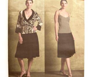 Vogue 2941 DKNY Donna Karan New York Sewing Pattern Misses' Wrap Top Bias Camisole Gathered Hem Skirt UNCUT Factory Folds Sizes 8-10-12