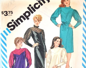 Simplicity 6117 Sewing Pattern Vintage 1980's Slim Fitting Dress with Collar Variations Leg O' Mutton Sleeves  Size 10