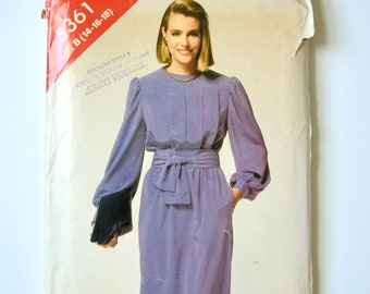 See and Sew 5361 Vintage 1980's Sewing Pattern Misses' Pullover Dress Blouson Bodice Elastic Waist Straight Skirt 80s Style Sizes 14-16-18