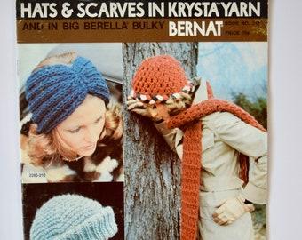 Vintage 1970s Bernat Handicrafter Knitting Crochet Pattern Booklet Hats and Scarves in Krysta Yarn Book 212