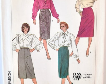 Vintage 1980s Simplicity 7676 Sewing Pattern Slim Skirt in Two Lengths Fuss- Free Fit With Special Instructions Pockets and Vent Size 16
