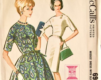 Vintage 1960's McCalls 6908 Sewing Pattern Dress with Slim or Full Skirt Angular Armholes. Tie Belt. Vintage Dress Pattern. Bust 34
