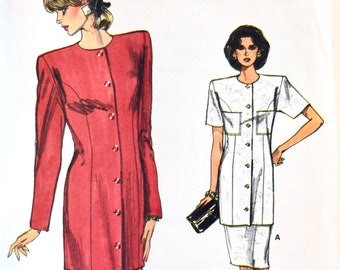 Vogue 9932 Sewing Pattern Vintage 1980s Tunic and Skirt Loose Fitting Wide Shoulders Flared Gored Skirt Very Easy Very Vogue Sizes 8-10-12