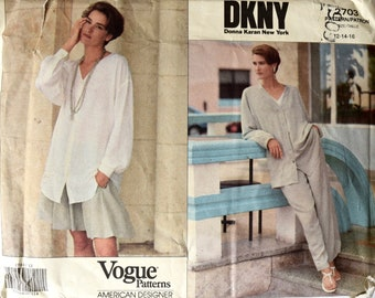 Vogue 2703 / DKNY Donna Karan New York Sewing Pattern American Designer 1990s Loose Fitting Jacket Shirt Skirt and Pants UNCUT Sizes 12-16
