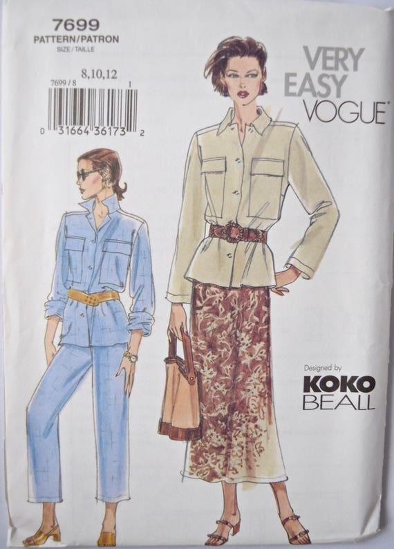 Holgada chaqueta Koke Beall Vogue muy fácil 7699 costura | Etsy