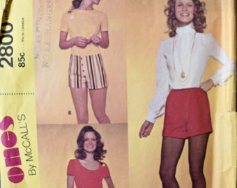 The Hot Ones 1970's McCall's 2800 Vintage Sewing Pattern Short Shorts Three Styles Waist 22