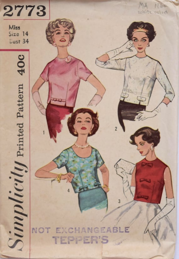 39fd1ba59fc2df 1960s Blouses Simplicity 2773 Vintage Sewing Pattern Set in | Etsy