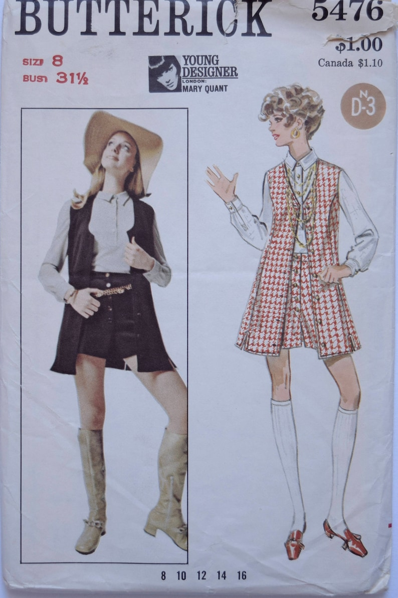 Butterick 5476 Mary Quant 1960s Vintage Sewing Pattern Long image 0
