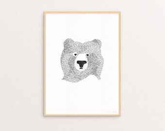 Bear Of Few Words A4 Print