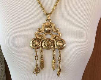 Vintage 60s Egyptian Revival Statement Necklace with Snakes and Faces