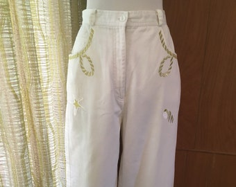 Vintage 80s White Jeans Nautical Gold Embroidered Mom Jeans