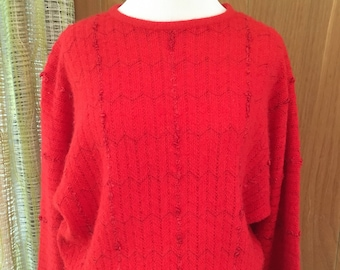 Vintage 70s 80s Designer Department Store Pullover Sweater Nubby Weave