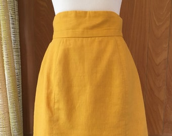 Vintage 80s Mustard Yellow Mini Skirt with High Waist