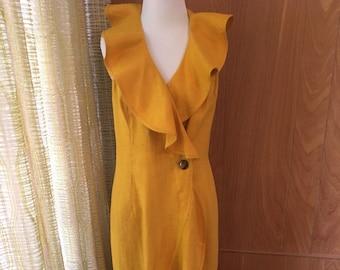 Vintage 80s 90s Canary Yellow Linen Ruffle Halter Maxi Dress