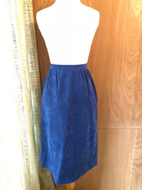 Vintage 70s Faux Suede Ultra Suede Midi Skirt - image 1