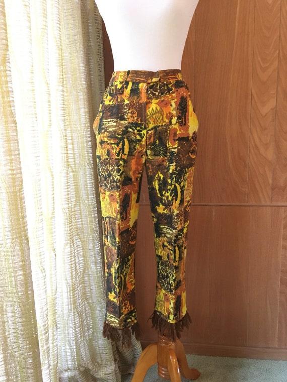 Vintage 50s 60s Tiki Barkcloth Fringe Capri Pants