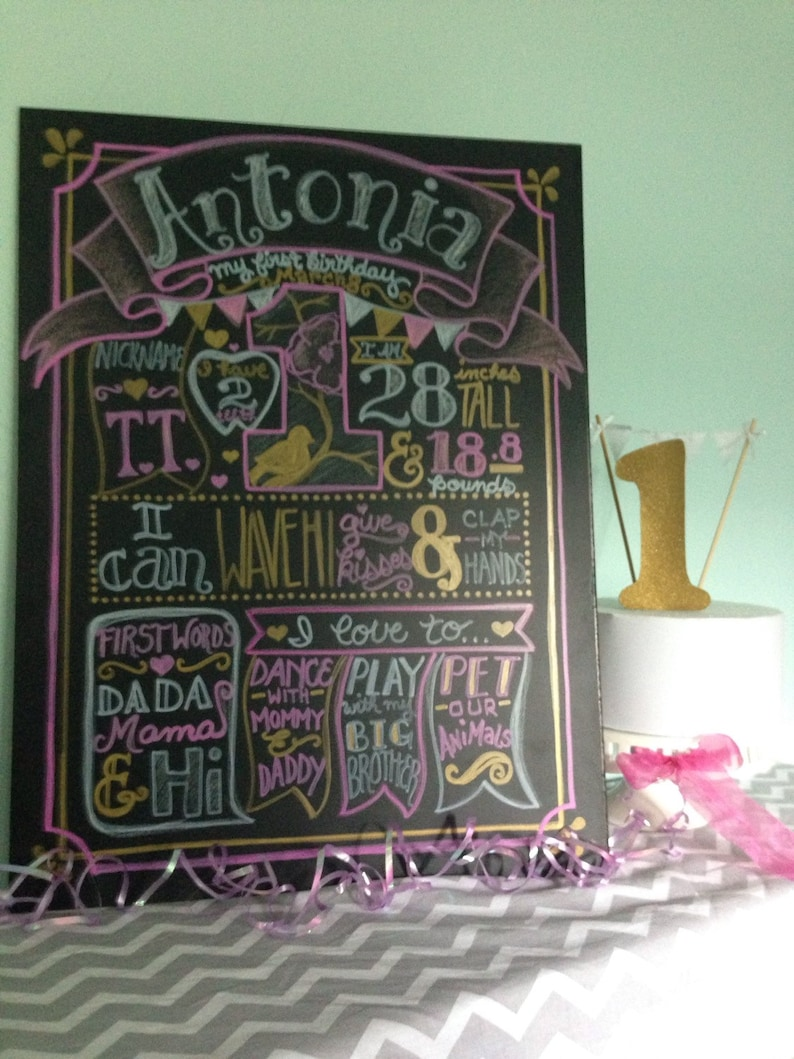 Pink and gold birthday chalkboard-first birthday chalkboard sign birthday stats poster chalkitychalk real birthday chalkboard