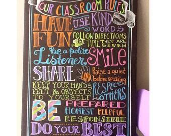 Teacher Rules Chalkboard - teacher gift, playroom rules, teacher chalkboard, teacher classroom chalkboard sign, handlettered not digital