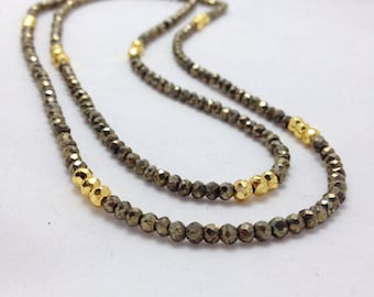 Long Faceted Pyrite and 14k Gold Filled Necklace