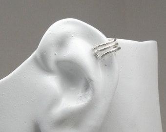 MINI Ear Cuff Cartilage, Fake Helix Earring No Piercing Simple Earcuff Non-pierced Sterling Silver Triple Faceted Mini Ear Cuff MC3FACETEDSS