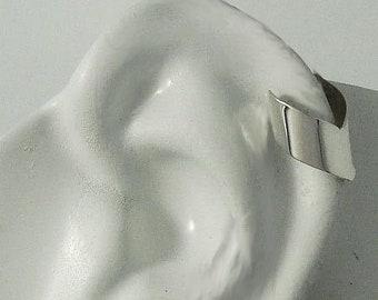 MINI Ear Cuff Cartilage Faux Helix,Fake Helix Earring No Piercing Hoop Simple Earcuff Non-pierced Upper Ear  Silver Smooth Chevron MC2SSSM