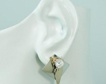 Ear Jackets Jacket for Studs RADIANT Facet Square Cubic Zirconia Drop Dangle JDSSSQCZHR Sterling Silver Earring Jackets Diamond Jackets