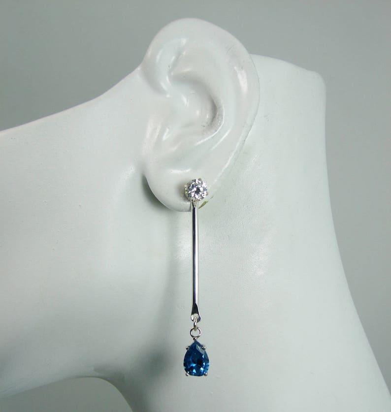 Earring JACKETS for Studs Silver London Blue Topaz PearDiamond Jackets Sterling Rhodium Jacket JDSSLBT10x7PBARRH Dangle Ear Jackets