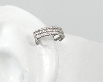 Pierced Cartilage, Helix Piercing, Conch Earring, Helix Hoop, Hex Piercing, Body Jewelry, Upper Ear Piercing, Silver Triple Rope MC3ROPESSP