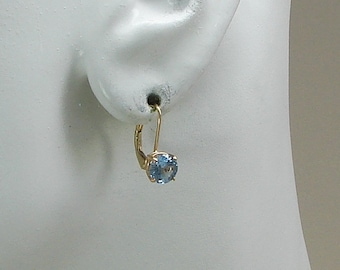 14K Solid Gold Dangle Blue Topaz 6mm Round gemstone in a Fixed Lever Back Style, Classic European Style Wire Earring 14KBT6MFLB
