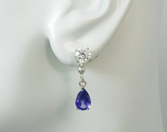 Earring JACKETS for Studs, 14k White Gold Tanzanite Pear or Teardrop Dangle, Jackets for Diamonds, Solid WHITE Gold Jacket, JDMMT14KW9X6P