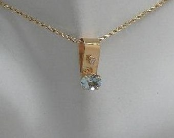 Pendant, Genuine Faceted Aquamarine Oval Gemstone with a Round Natural Diamond set in a Solid 14K Gold Necklace Bail Setting PEN14KDIAQOV