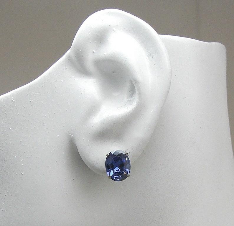 Earring Solid 14K WHITE Gold Faceted Oval Blue Spinel Gemstone Earrings in 14K White Gold,Oval Blue Spinel Stud Post Earrings P14KWOV10X8BSP