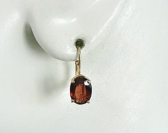 14K Solid Gold Drop Red Garnet Oval Fixed Lever Back Earrings, Secure European Style Wire Closure Birthstone Gems 14KGAR8X6OVFLB