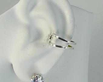 Ear Cuff 14K White Gold Non-pierced Cartilage Wrap Earring Fake Conch No Piercing Cuff Earring  Earcuff  Faux Pierced Double Square EDSQ14KW