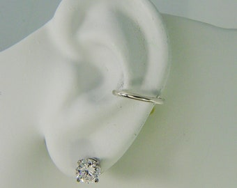 Conch Piercing, Cartilage Piercing, Hex Hoop, Gauge Piercing Earring, Silver, Helix Inner Ear Piercing, Half Round Post Earring E9SSP