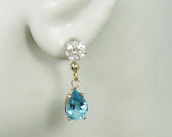 EARRING JACKETS for Studs,14K Solid Gold Ear Jackets, Gemstone Blue Topaz Dangle Teardrop Jackets for post Earrings Stud Jackets JDBT14K10X7