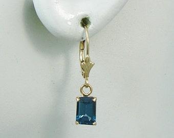 14K Gold Earrings Dangle London Blue Topaz Rectangle Classic Drop Gemstone Lavelier Lever Back, European Wires Dangle 14KLBT7X5RLLB