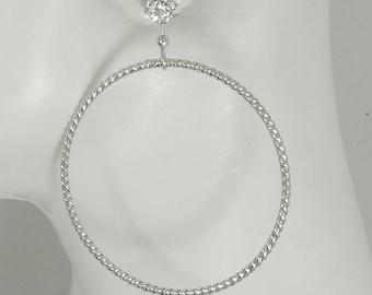 EARRING JACKETS, Dangle Hoop, Silver Jackets for Diamonds, Ear Jacket, Stud Jackets, Post Diamond Earring Jackets Rope Circle JH50ROPEDSS