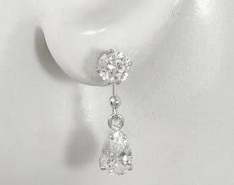 Earring JACKETS for Studs. Sterling SilverTeardrop Dangle Jackets for Diamonds, Drop Ear Jackets,Post Earring jackets, CZ Jacket JDCZPEARSS