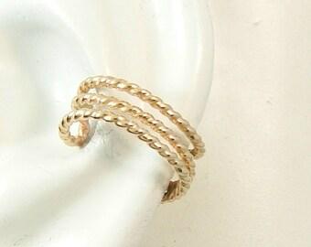 Ear Cuff, Gold Earcuff, Non-pierced, Wire Twist Cartilage Wrap, Fake Conch Earring, No Piercing, Faux Pierced Hoop Triple Beaded wire ETBNGF