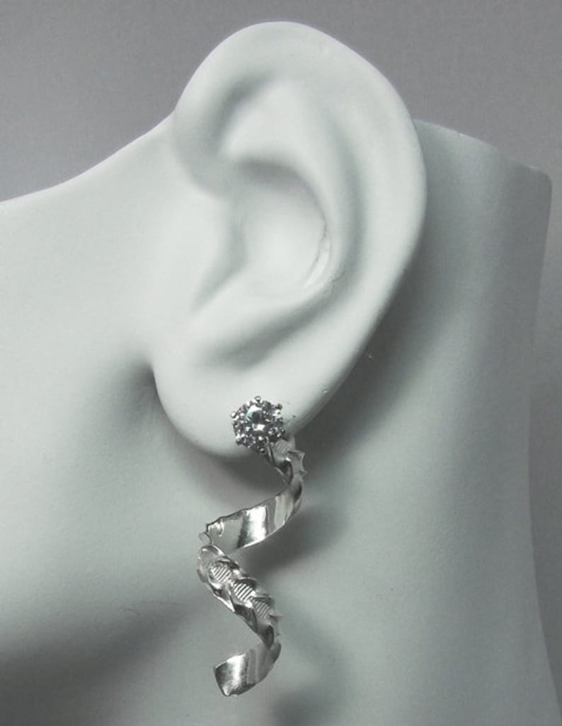 Earring Jackets Handmade Sterling Silver RHODIUM Plated Spiral Design Stud Jackets Diamond Jacket for Post Earrings JSWESSRHODIUM