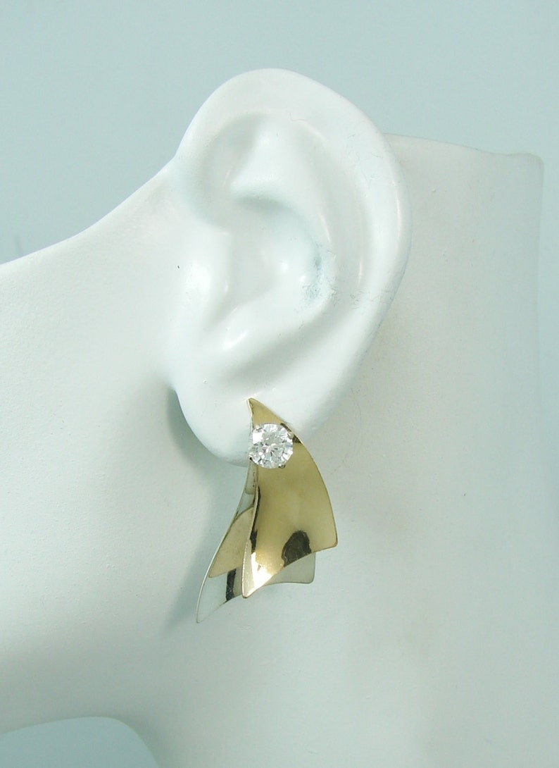 Ear Jackets JTTSAILMEDSM EARRING JACKETS Dliamond Jackets Two tone Jackets for Studs 3-D Silver and Gold  Double Sails Earring Jackets