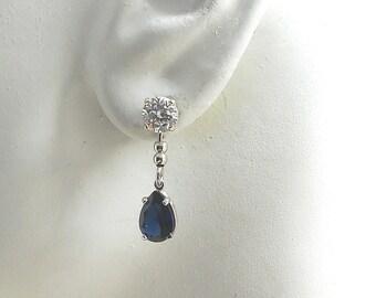 Earring JACKETS, Jackets for Diamonds, Jackets for Studs, Ear Jackets, Sterling Silver Dangle Teardrop Blue Spinel Sapphire JDBLSPPEARSS